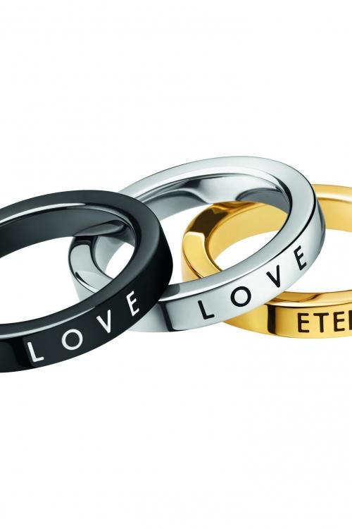 Image of Ladies Calvin Klein Multi colour gold Size N Hook Ring Set KJ06JR390107