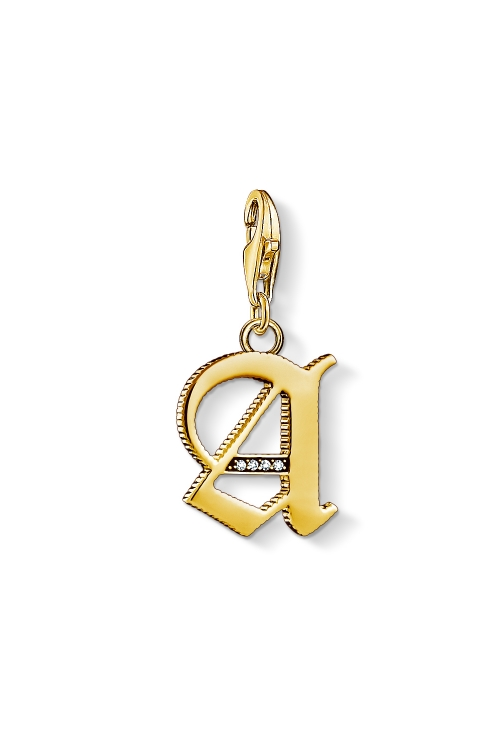 Image of  			   			  			   			  Ladies Thomas Sabo Gold Plated Sterling Silver Charm Club Letter A Charm 1607-414-39