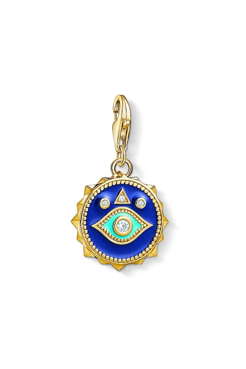 Image of  			   			  			   			  Ladies Thomas Sabo Gold Plated Sterling Silver Charm Club Blue Nazar Eye Charm 1663-565-32