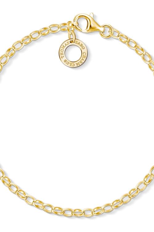 Image of            Ladies Thomas Sabo Gold Plated Sterling Silver Charm Club Charm Bracelet X0243-413-39-L17