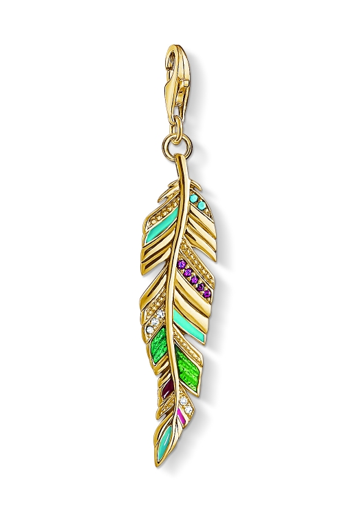 Image of  			   			  			   			  Ladies Thomas Sabo Gold Plated Sterling Silver Charm Club Ethnic Feather Charm Y0033-471-7