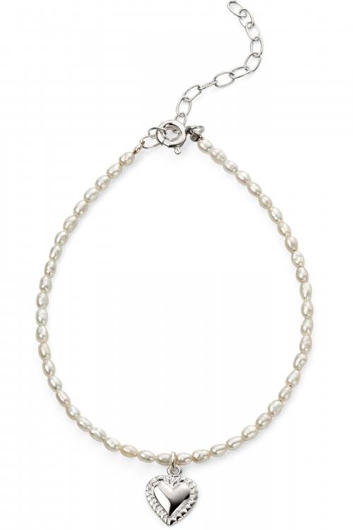 Beginnings Rice Pearl With Heart Drop Bracelet B5075W