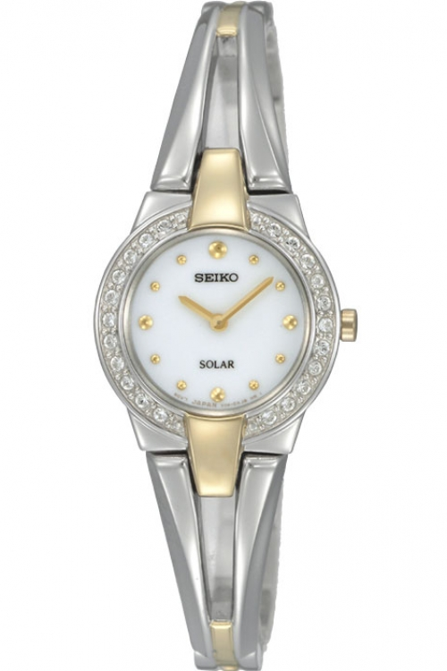 Image of  			   			  			   			  Ladies Seiko Crystal Solar Powered Watch SUP052P1