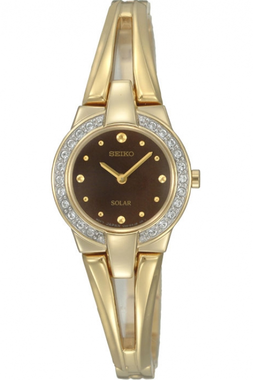 Image of  			   			  			   			  Ladies Seiko Crystal Solar Powered Watch SUP054P1