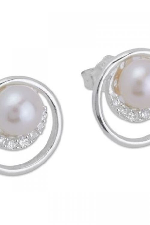 Unique & Co Earring Freshwater Pearl Circonia JEWEL ME-207
