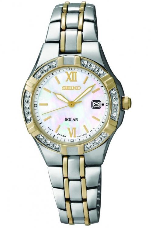 Image of            Ladies Seiko Diamond Solar Powered Watch SUT068P9