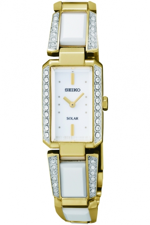 Image of  			   			  			   			  Ladies Seiko Ceramic Solar Powered Watch SUP172P9