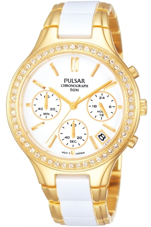 Image of Ladies Pulsar Ceramic Chronograph Watch PT3304X1