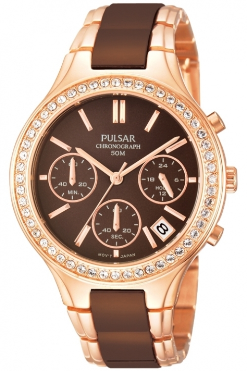 Image of Ladies Pulsar Ceramic Chronograph Watch PT3306X1