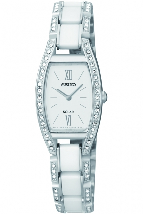 Image of  			   			  			   			  Ladies Seiko Ceramic Solar Powered Watch SUP221P9