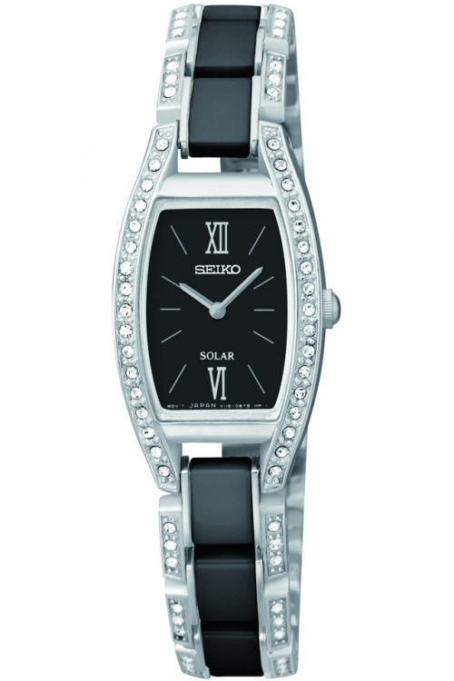 Image of Ladies Seiko Ceramic Solar Powered Watch SUP223P9