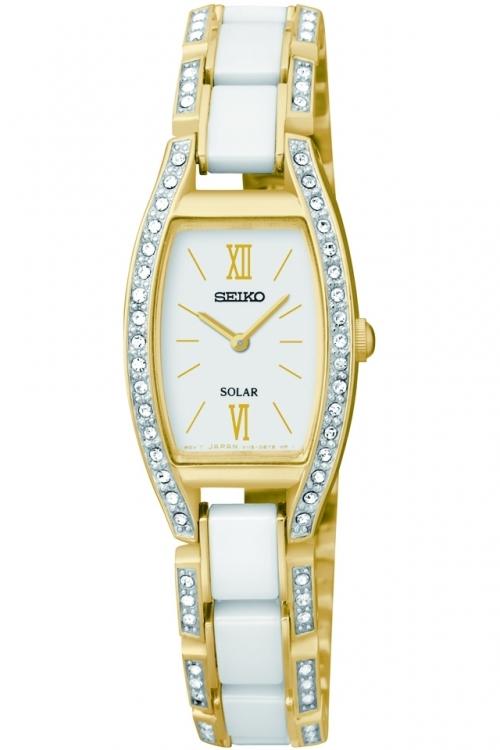 Image of            Ladies Seiko Ceramic Solar Powered Watch SUP224P9