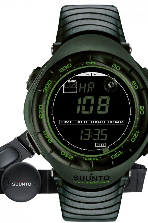 Image of            Mens Suunto Vector HR - Dark Green Alarm Chronograph Watch SS018730000