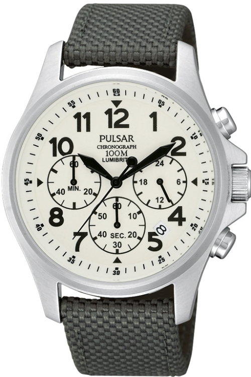 Mens Pulsar Lumibrite Chronograph Watch PT3425X1