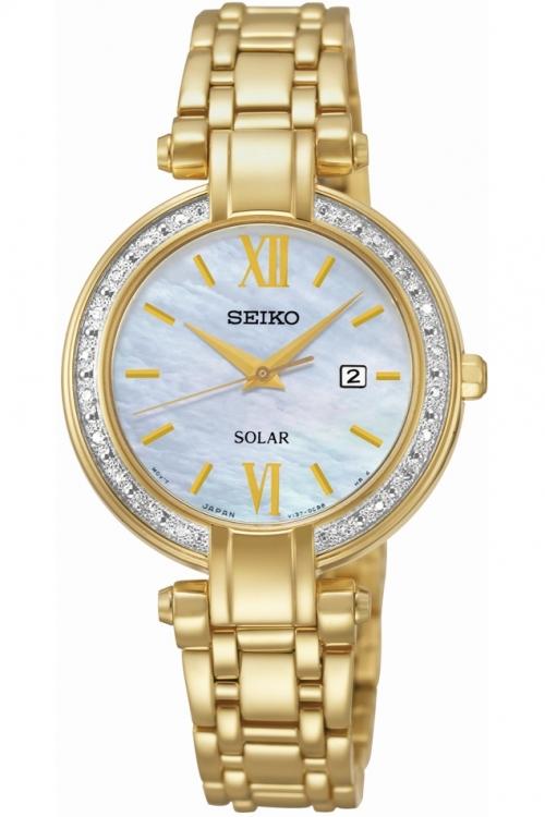 Image of            Ladies Seiko Diamond Solar Powered Watch SUT182P9