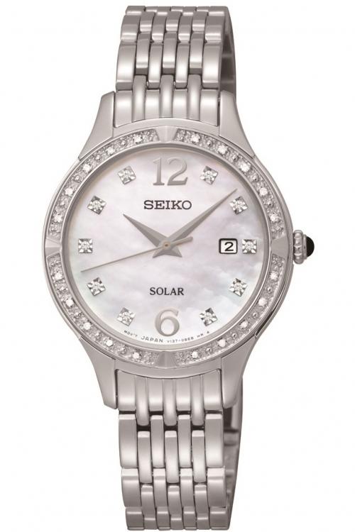 Image of            Ladies Seiko Diamond Solar Powered Watch SUT091P9