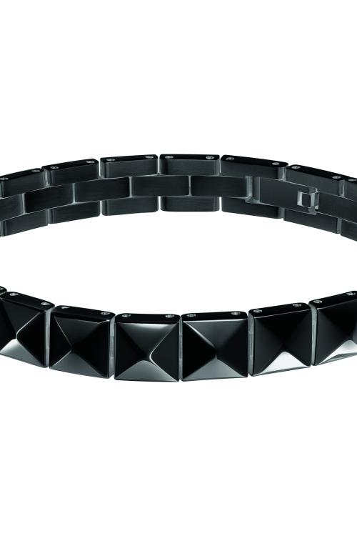 Image of            Ladies Calvin Klein Black Ion-plated Steel Edge Bracelet KJ3CBB100100