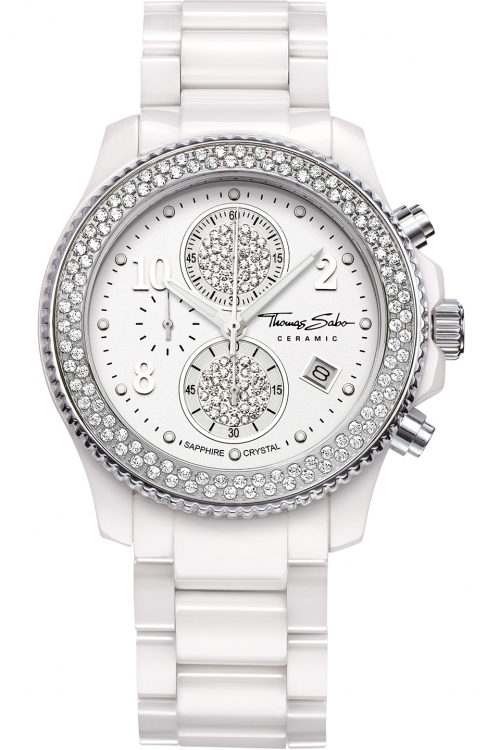 Image of  			   			  			   			  Ladies Thomas Sabo Glam Ceramic Chronograph Watch