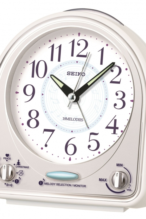 Image of  			   			  			   			  Seiko Clocks Melody Bedside Alarm Clock QHP003W
