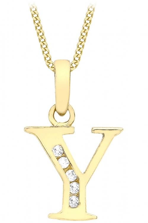Jewellery Essentials Initial Y Cubic Zirconia Pendant JEWEL AJ-14430024