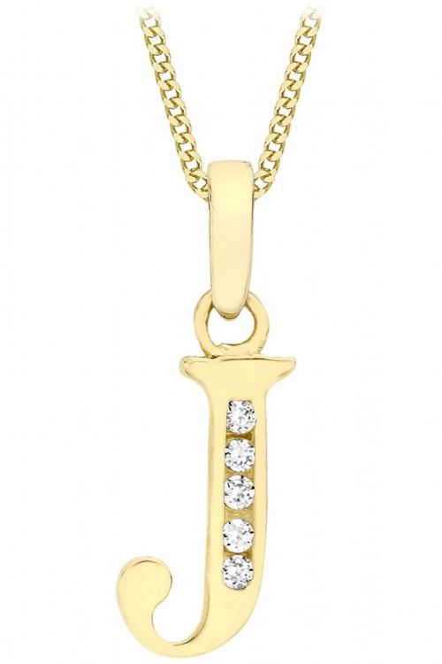 Jewellery Essentials Initial J Cubic Zirconia Pendant JEWEL AJ-14430012