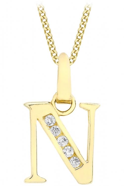 Jewellery Essentials Initial N Cubic Zirconia Pendant JEWEL AJ-14430013