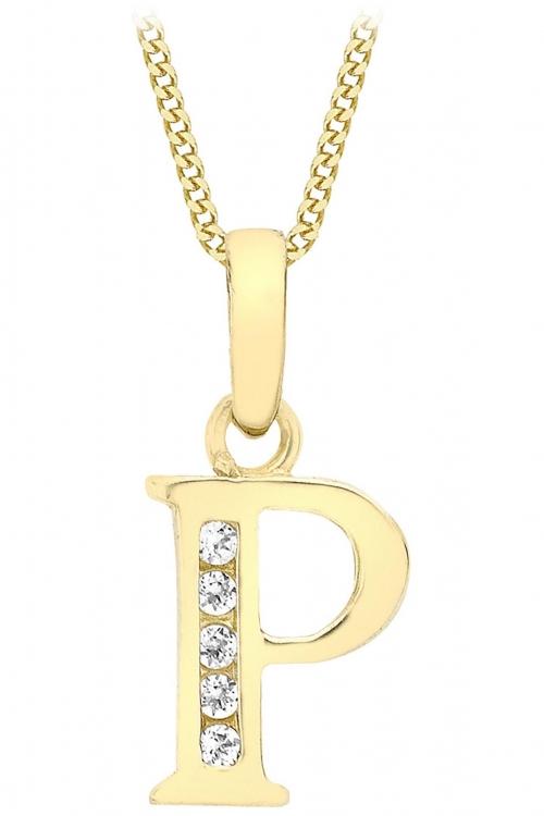 Jewellery Essentials Initial P Cubic Zirconia Pendant JEWEL AJ-14430015