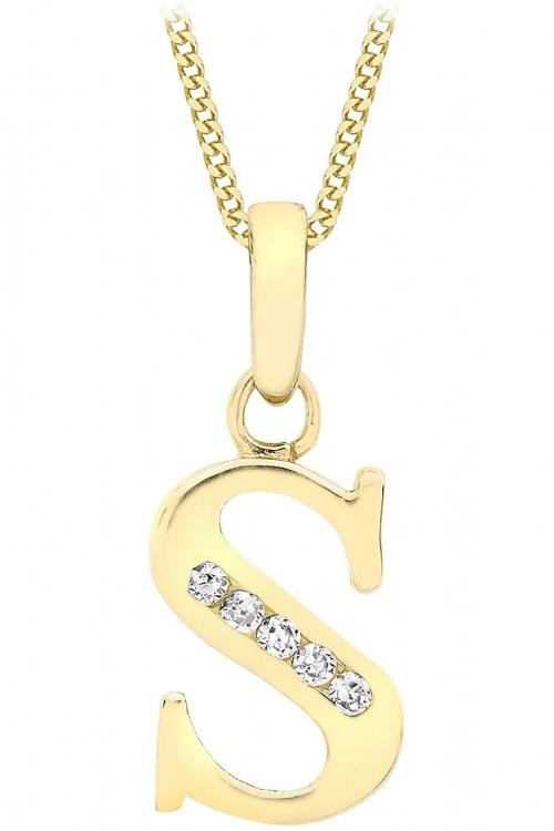 Jewellery Essentials Initial S Cubic Zirconia Pendant JEWEL AJ-14430018