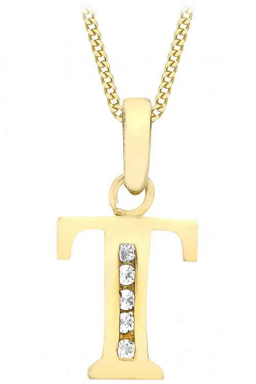 Jewellery Essentials Initial T Cubic Zirconia Pendant JEWEL AJ-14430019