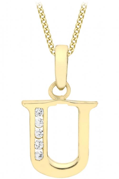 Jewellery Essentials Initial U Cubic Zirconia Pendant JEWEL AJ-14430020