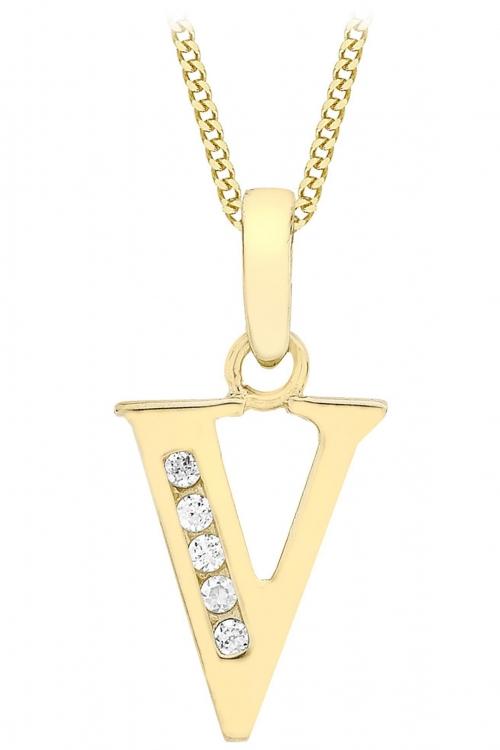 Jewellery Essentials Initial V Cubic Zirconia Pendant JEWEL AJ-14430021