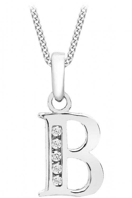 Jewellery Essentials Initial B Cubic Zirconia Pendant JEWEL AJ-14430027