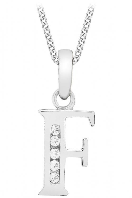 Jewellery Essentials Initial F Cubic Zirconia Pendant JEWEL AJ-14430031