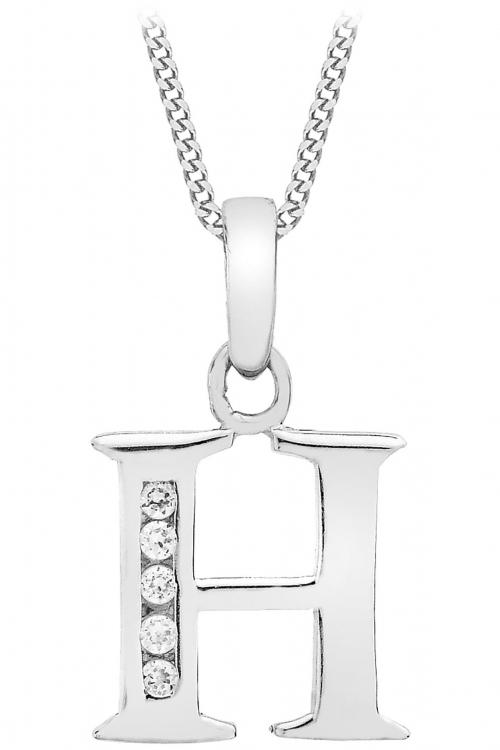 Jewellery Essentials Initial H Cubic Zirconia Pendant JEWEL AJ-14430033