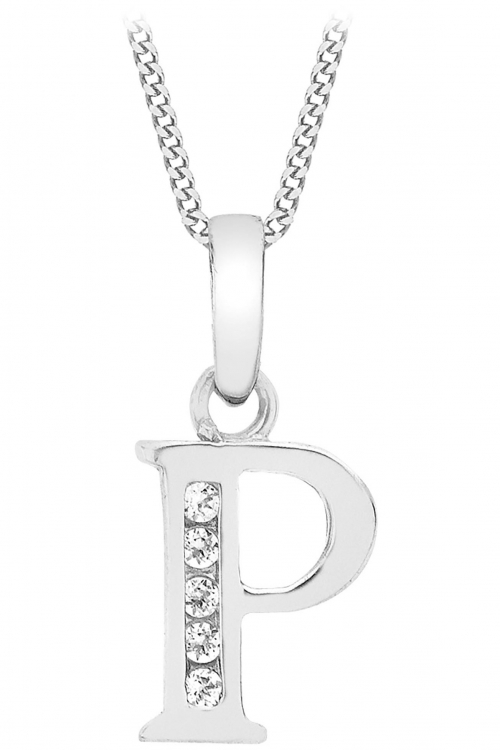 Jewellery Essentials Initial P Cubic Zirconia Pendant JEWEL AJ-14430041