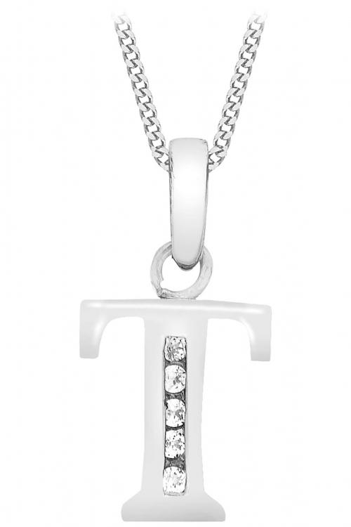 Jewellery Essentials Initial T Cubic Zirconia Pendant JEWEL AJ-14430045