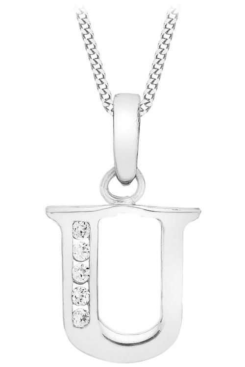 Jewellery Essentials Initial U Cubic Zirconia Pendant JEWEL AJ-14430046
