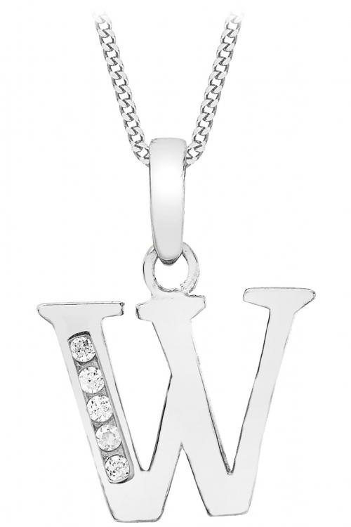 Jewellery Essentials Initial W Cubic Zirconia Pendant JEWEL AJ-14430048