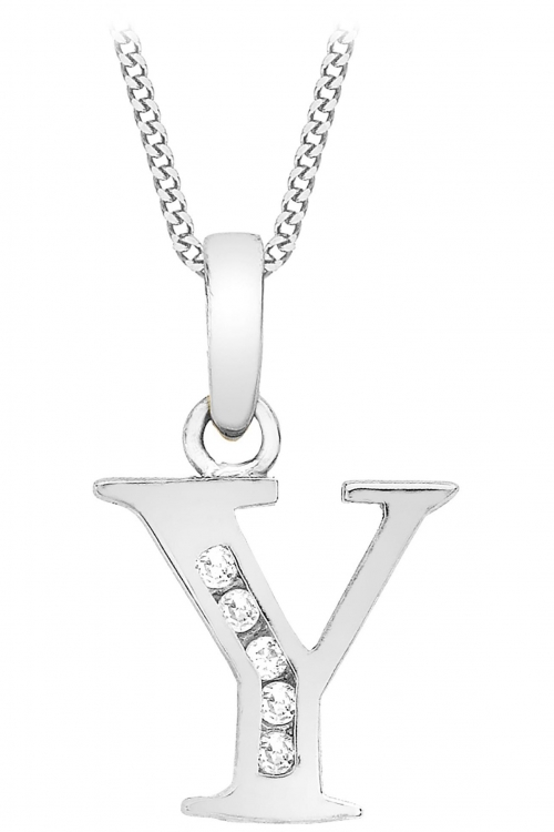 Jewellery Essentials Initial Y Cubic Zirconia Pendant JEWEL AJ-14430050