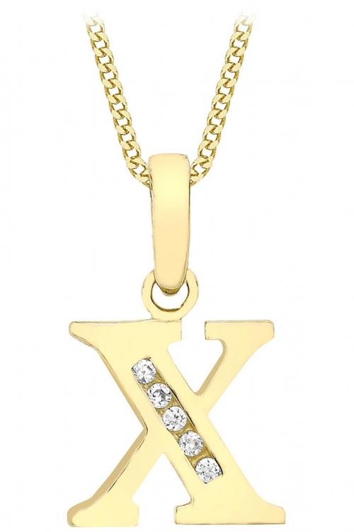Jewellery Essentials Initial X Cubic Zirconia Pendant JEWEL AJ-14430023