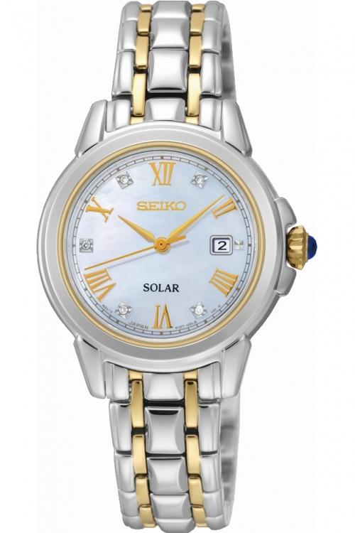 Image of            Ladies Seiko Diamond Solar Powered Watch SUT244P9